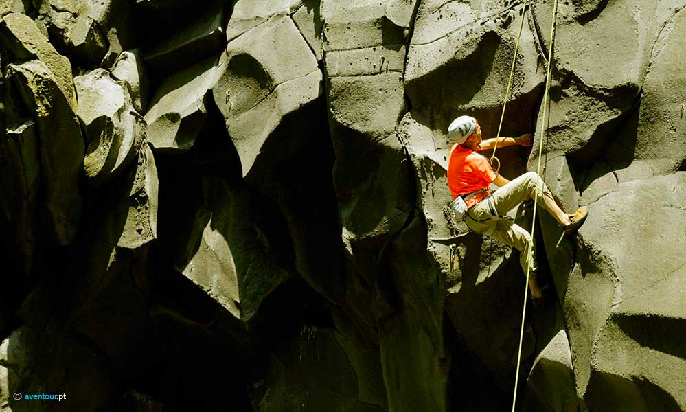Rock Climbing in Sao Jorge Island in Azores