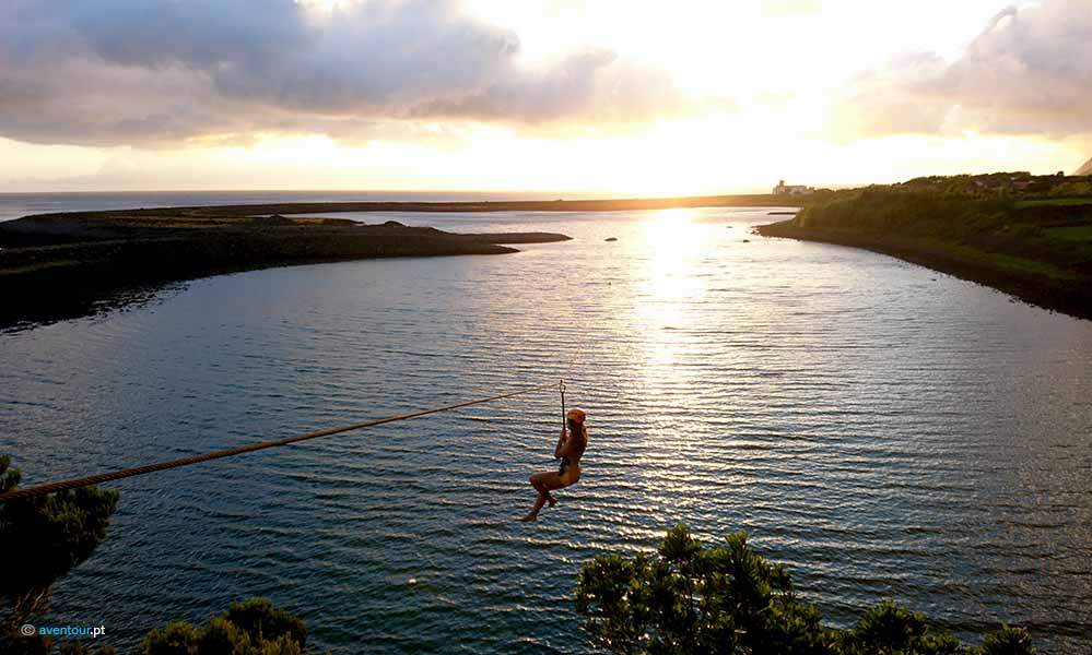 Zip Line in Sao Jorge island in Azores